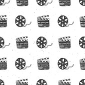 Cinema tape, film reel and clapperboard vintage seamless pattern, handdrawn sketch, retro movie and film industry, vector illustration