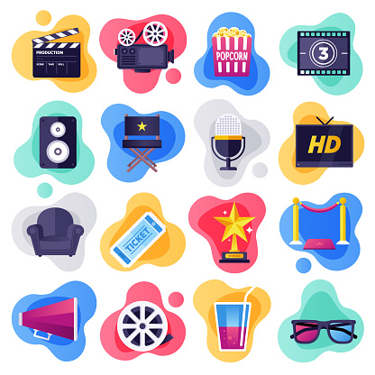 Cinema, Television & Media Industry Flat Flow Style Vector Icon Set