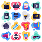Cinema, television and media industry liquid flat flow style concept symbols. Flat design vector icons set for infographics, mobile and web designs.