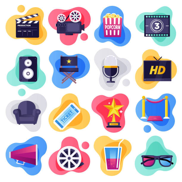 cinema, television & media industry flat flow style vector icon set - movies stock illustrations