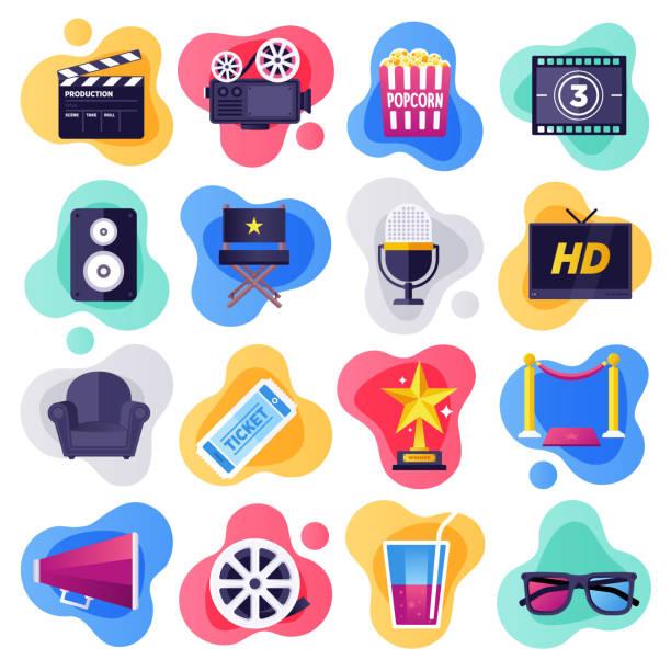 illustrazioni stock, clip art, cartoni animati e icone di tendenza di cinema, television & media industry flat flow style vector icon set - cinema