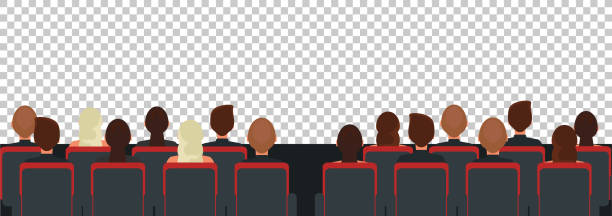 Cinema, theater audience flat illustration Cinema, theater audience flat illustration. Man and women sitting at seats back view vector drawing. People watching movie, play cartoon characters on transparent background. Entertainment industry audience stock illustrations