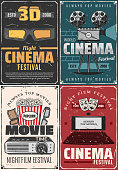 Film festival, cinema theater premiere night and movie vintage posters. Vector cinematography movie clapperboard, video camera and cinema 3D glasses, movie star award, popcorn and cinema projector