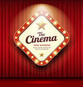 Cinema Theater sign shaped square light up on red curtain design background, illustration