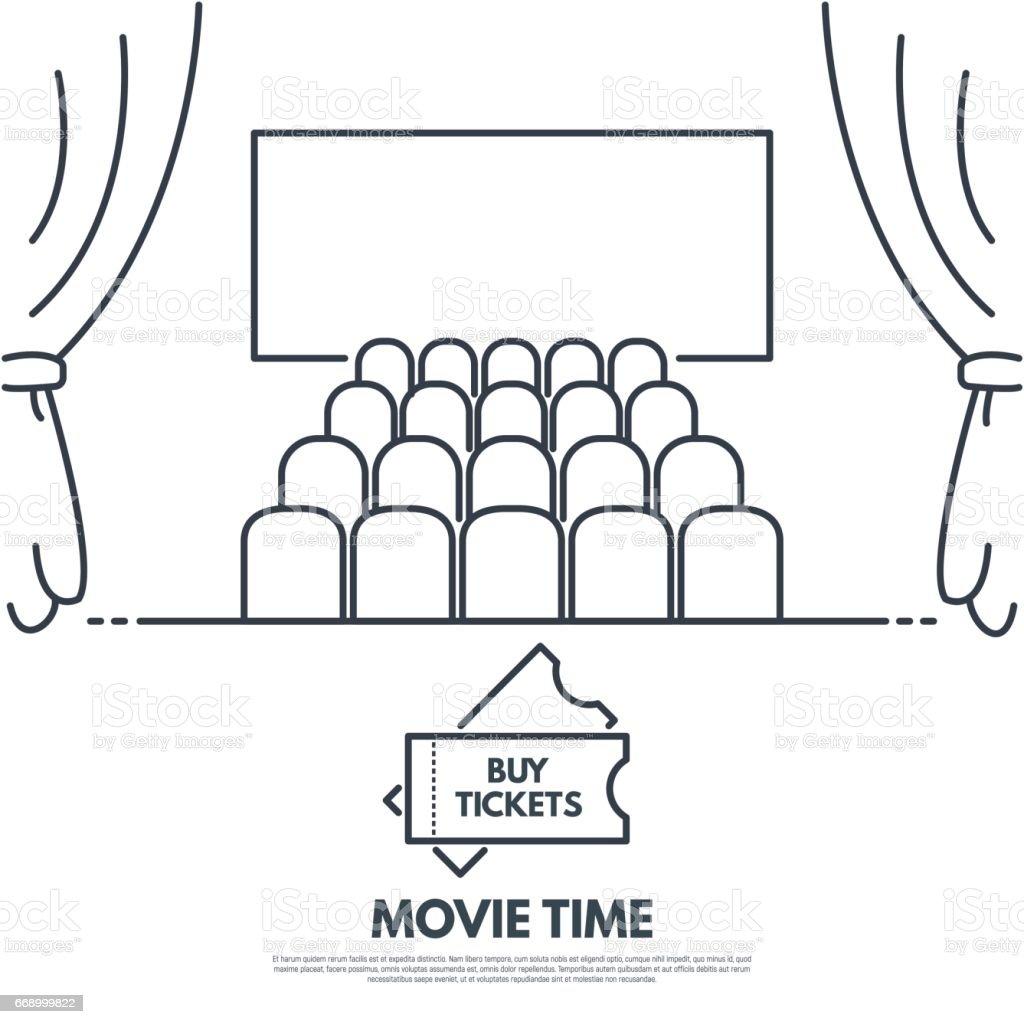 Cinema theater vector art illustration