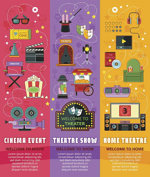 stockillustraties, clipart, cartoons en iconen met cinema, theatre, home theatre - photography curtains