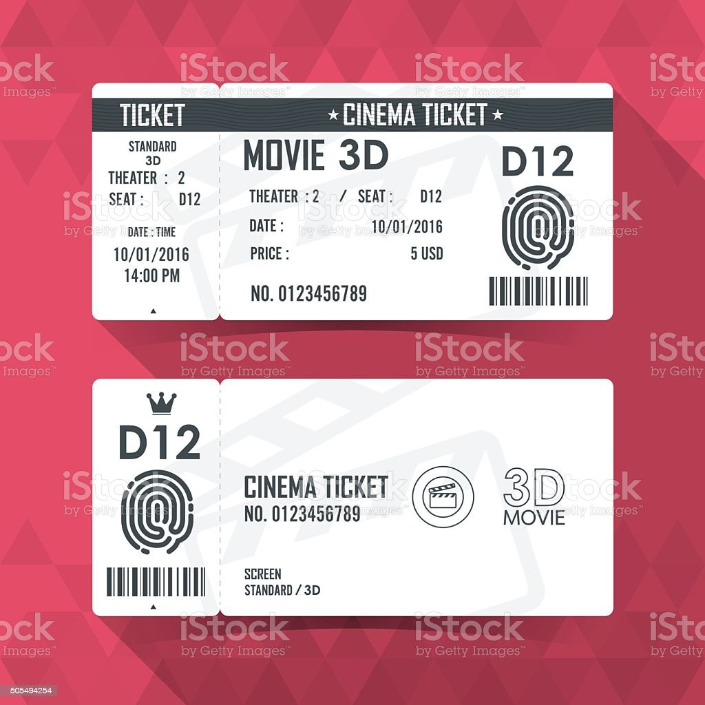 Billet de cinéma carte élément de design moderne - Illustration vectorielle