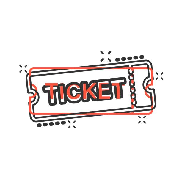 Cinema ticket icon in comic style. Admit one coupon entrance vector cartoon illustration pictogram. Ticket business concept splash effect. Cinema ticket icon in comic style. Admit one coupon entrance vector cartoon illustration pictogram. Ticket business concept splash effect. admit one stock illustrations