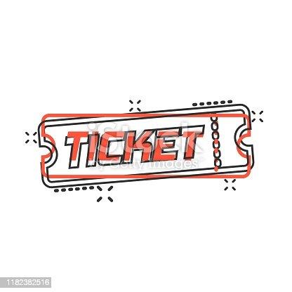 Cinema ticket icon in comic style. Admit one coupon entrance vector cartoon illustration pictogram splash effect.