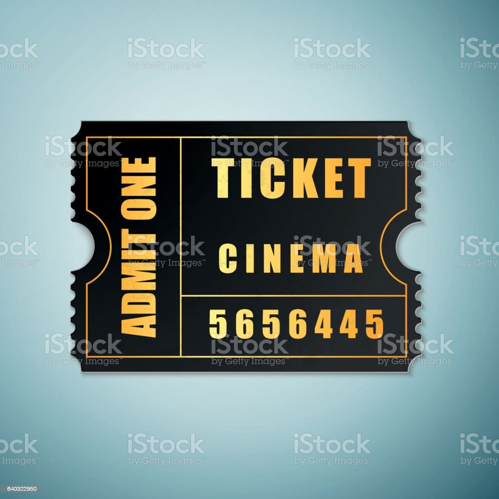Cinema ticket icon isolated on blue background. Vector Illustration vector art illustration