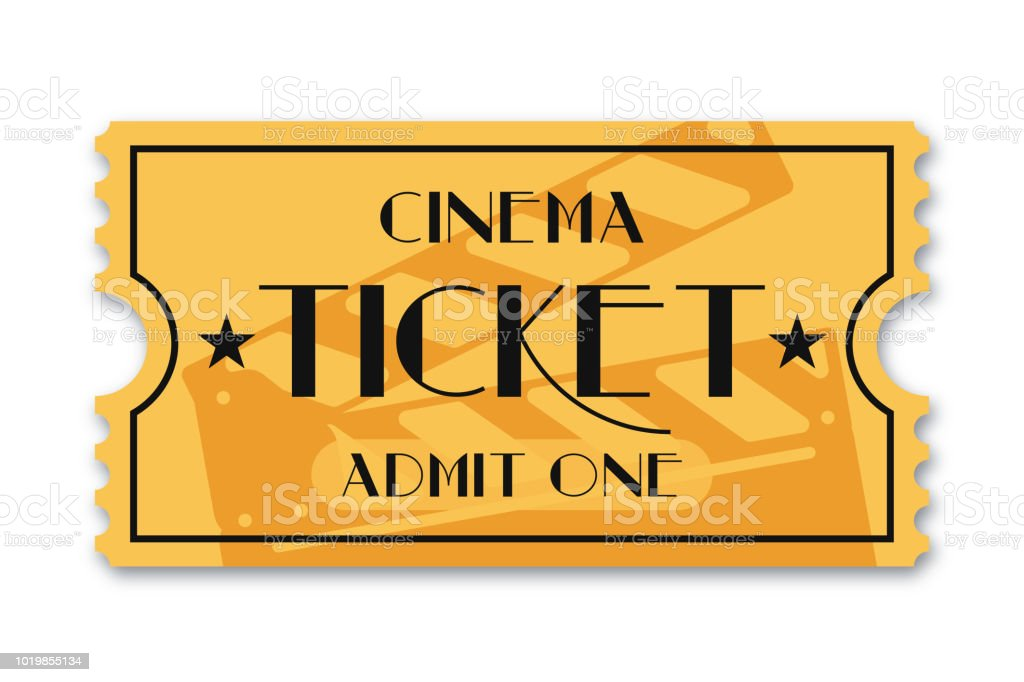 Cinema ticket isolated on background. Vintage admission movie ticket template