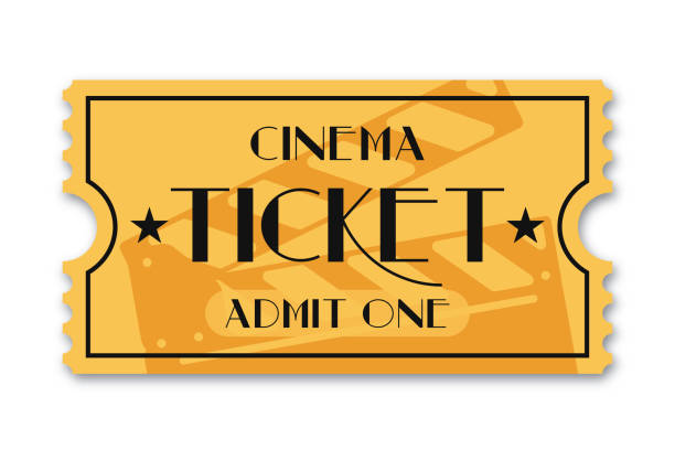 Cinema ticket isolated on background. Vintage admission movie ticket template Cinema ticket isolated on background. Vintage admission movie ticket template. Vector admit one stock illustrations