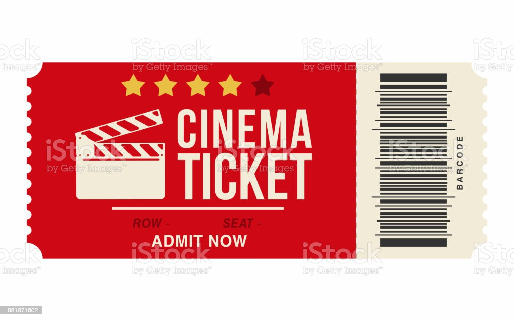 Cinema Ticket Isolated On White Background Realistic Cinema Or Movie