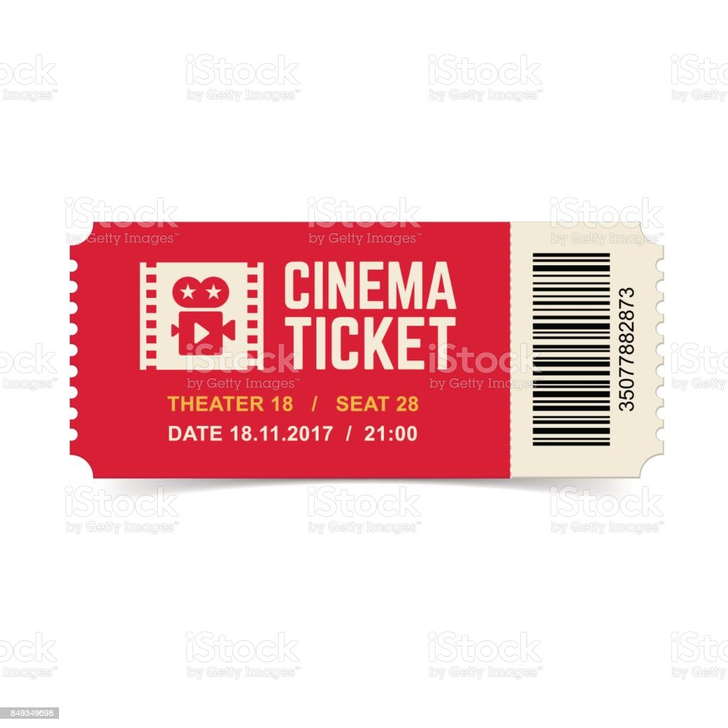 Cinema ticket isolated on white background.