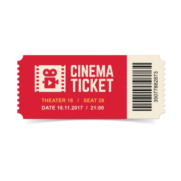 Cinema ticket isolated on white background. Vector red cinema ticket isolated on white background. movie ticket stock illustrations