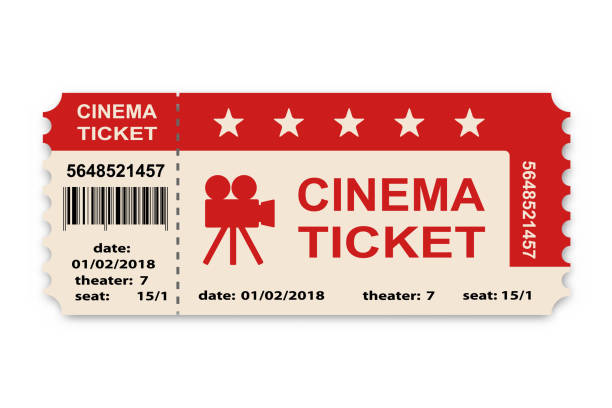 cinema ticket isolated on white background. - tickets and vouchers templates stock illustrations