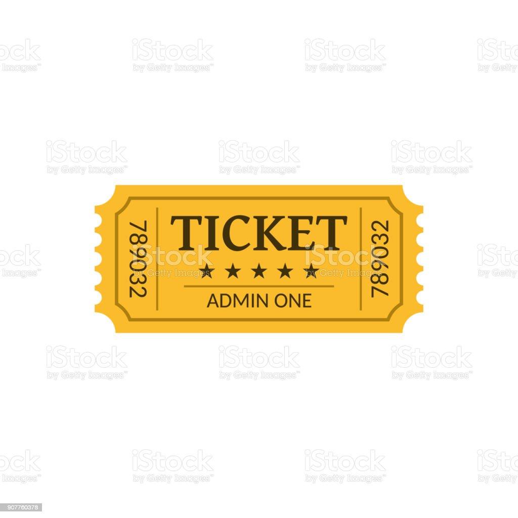 Cinema ticket, isolated on white. Retro style vector art illustration