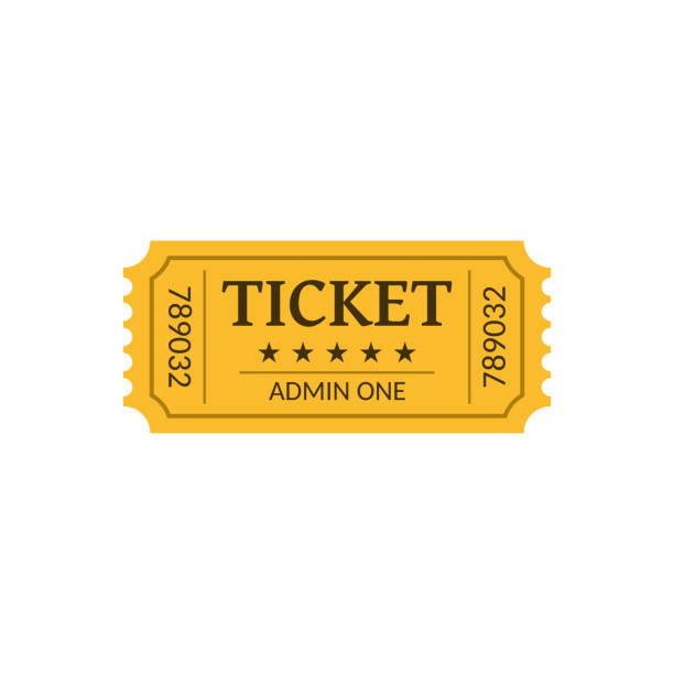 Cinema ticket, isolated on white. Retro style Cinema ticket, isolated on white. Retro style. Vector illustration. admit one stock illustrations