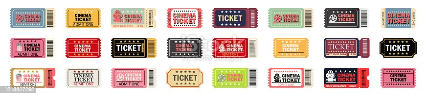 istock Cinema ticket large set.Relastic.Movie ticket template in realistic style.Vector 1218827292