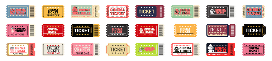 Cinema ticket large set.Relastic.Movie ticket template in realistic style.Vector