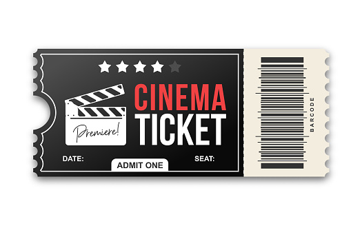 Cinema ticket on white background. Movie ticket template in black and red colors
