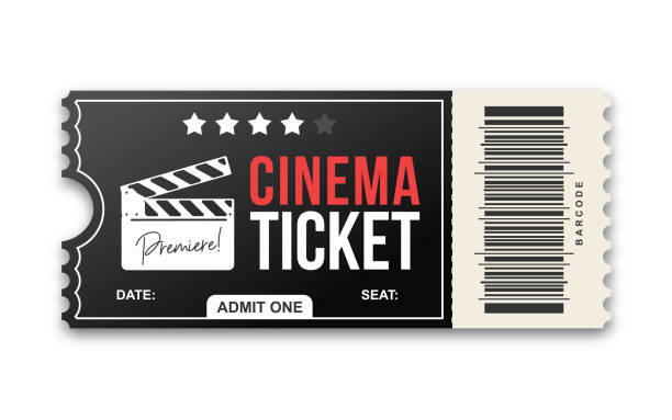 cinema ticket on white background. movie ticket template in black and red colors - tickets and vouchers templates stock illustrations