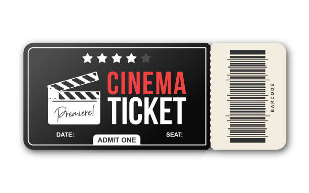 Cinema ticket on white background. Movie ticket template in black and red colors Cinema ticket on white background. Movie ticket template in black and red colors admit one stock illustrations