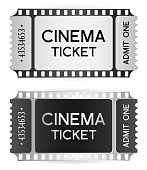 Cinema Ticket, token template (tear-off ticket film strip) isolated on white background