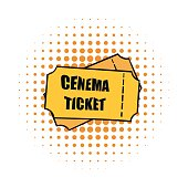 Cinema tickets comics icon