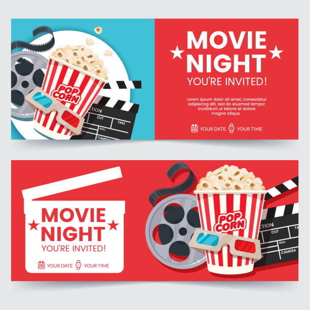 ilustrações de stock, clip art, desenhos animados e ícones de cinema tickets design concept. movie night invitation. cinema poster template. composition with popcorn, clapperboard, 3d glasses and filmstrip. banner design for movie theater. - film
