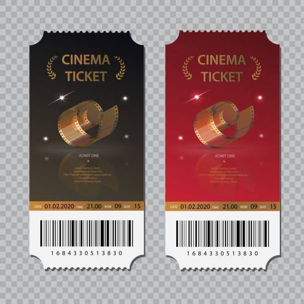 Kino-Tickets isoliert Set. Vorlagen für Festival, Theater oder Event. Film-Eintritt-Coupon. – Vektorgrafik