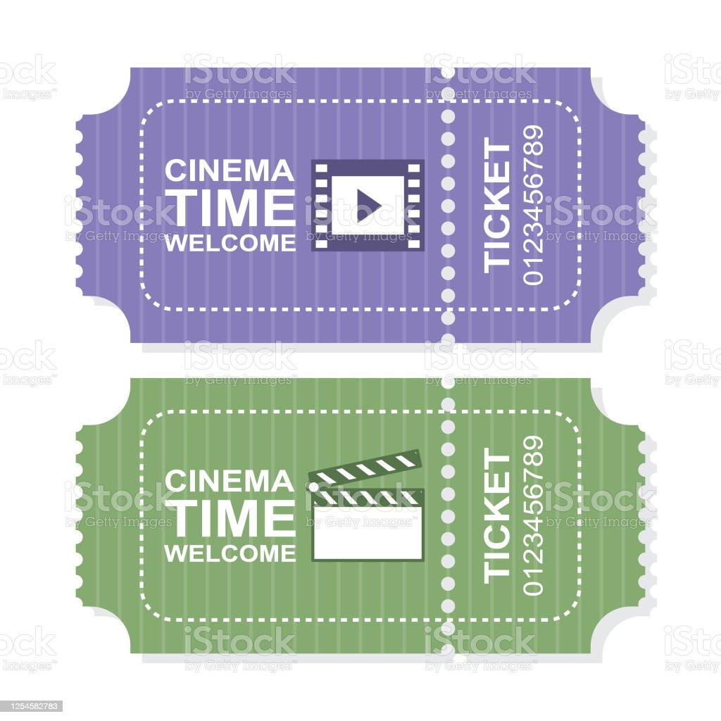 紫と緑の色で映画館のチケットテンプレート アイコンのベクターアート素材や画像を多数ご用意 Istock