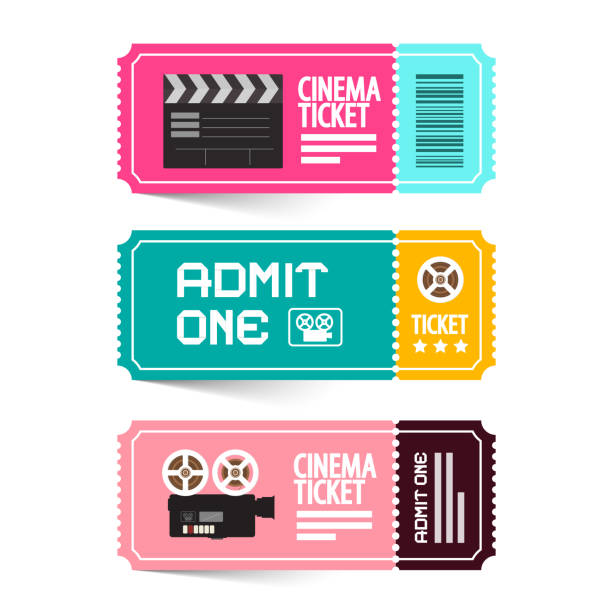 Cinema Tickets Cinema Ticket Vector Illustration. Admit One Movie Flat Design Tickets. admit one stock illustrations