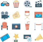Cinema vector icons in a flat style