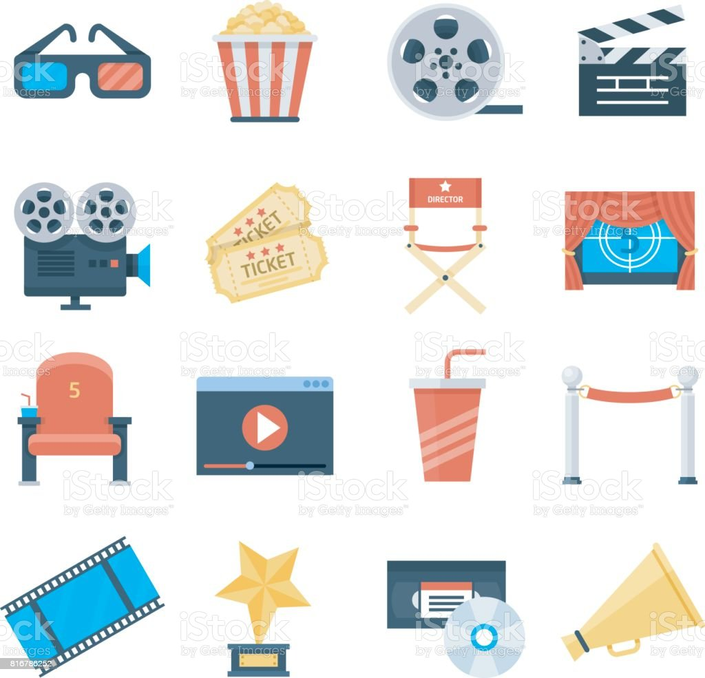 Icônes vectorielles cinéma dans un style plat - Illustration vectorielle