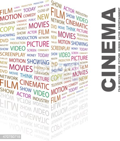 CINEMA. Concept illustration. Graphic tag collection. Wordcloud collage.