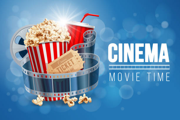 stockillustraties, clipart, cartoons en iconen met bioscoop - popcorn