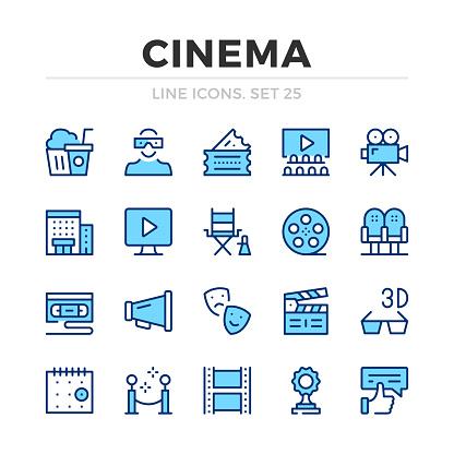 Cinema vector line icons set. Filmmaking, film production. Thin line design. Modern outline graphic elements, simple stroke symbols. Cinema icons