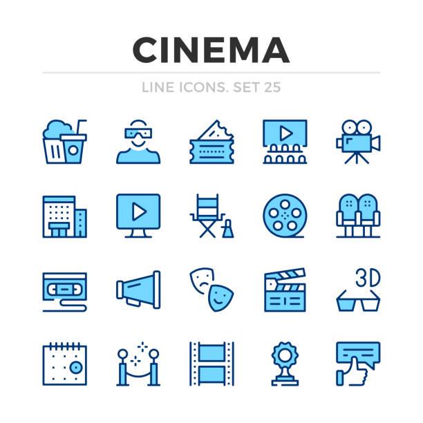 ilustrações de stock, clip art, desenhos animados e ícones de cinema vector line icons set. filmmaking, film production. thin line design. modern outline graphic elements, simple stroke symbols. cinema icons - video
