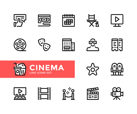 Cinema vector line icons. Simple set of outline symbols, linear graphic design elements. Cinema icons set. Pixel Perfect