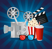 istock Cinema videocamera food clapboard and 3d glasses vector design 1295092594