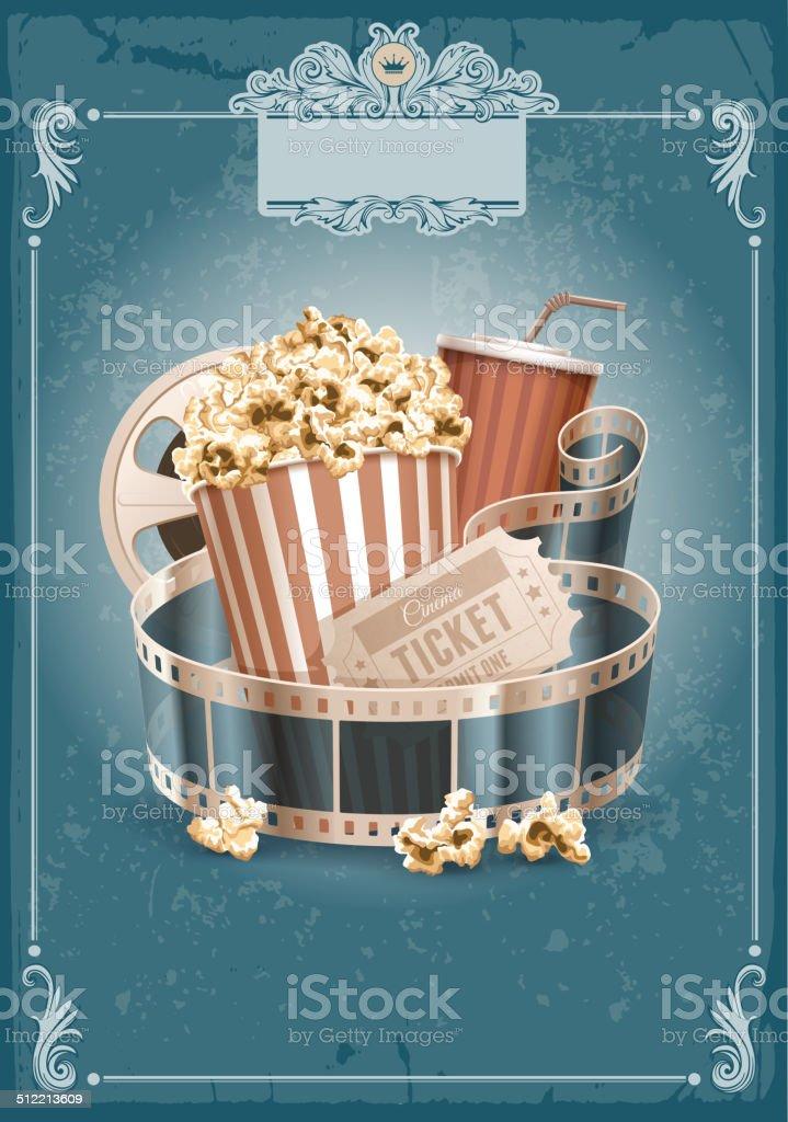 Cinema vintage background vector art illustration