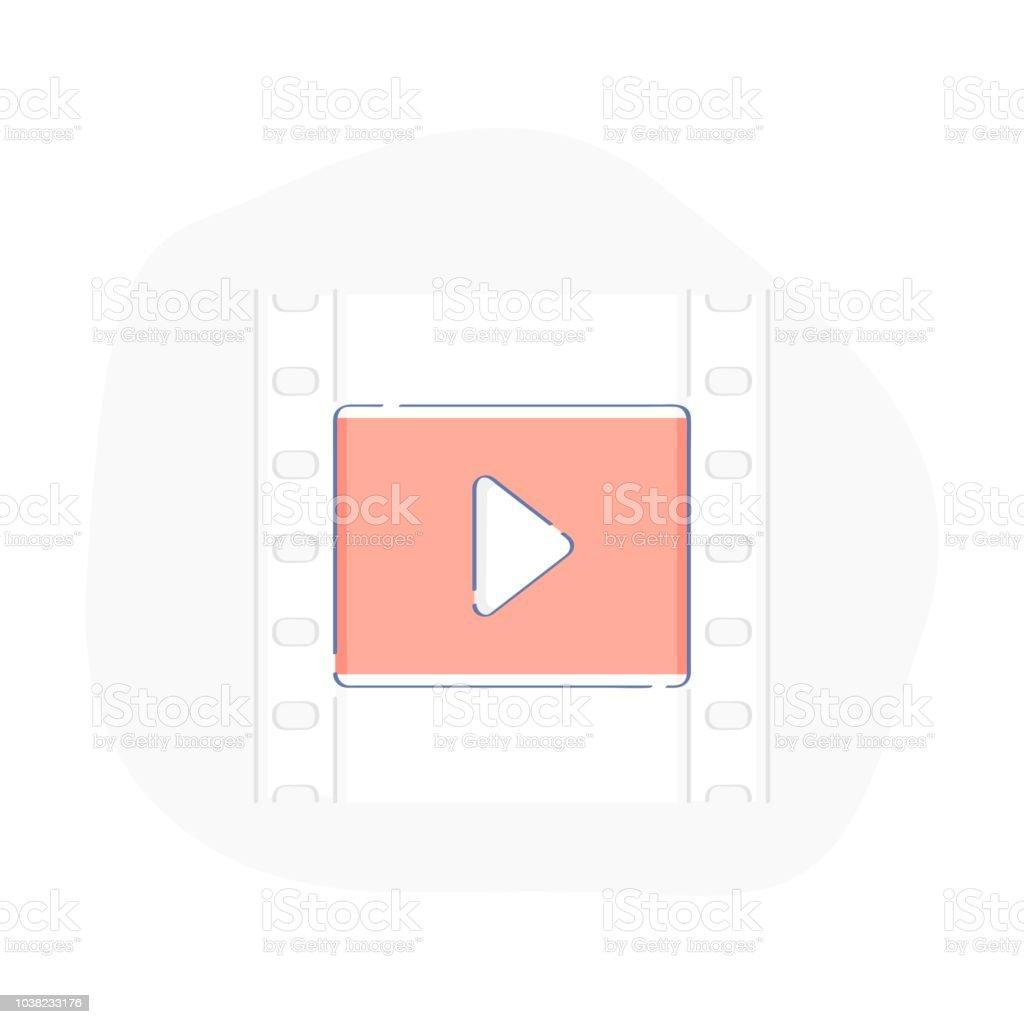 Cinema Watch Movie Videotape Or Film Strip Frames With Video