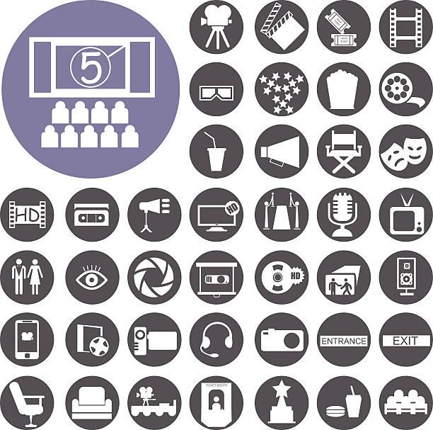Kino web icon-set-Silhouette.  Illustration eps10 – Vektorgrafik