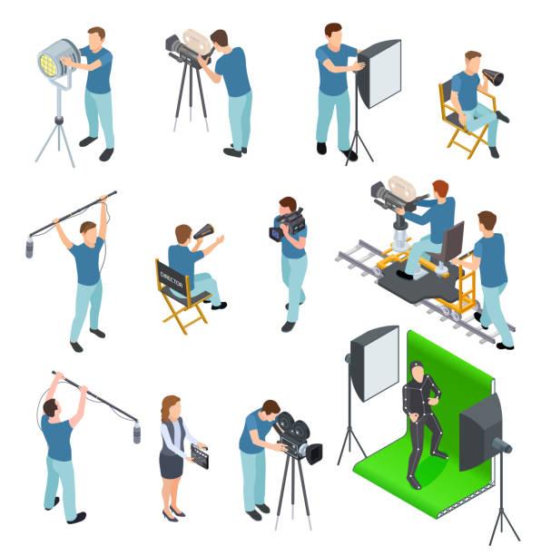 stockillustraties, clipart, cartoons en iconen met cinematograaf isometrische set. mensen werken camera licht bemanning film film motion productie tv-studio groen scherm 3d vector set - green screen