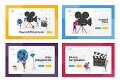 Cinematography Industry Landing Page Template Set. Tiny People Characters Making Movie. Operator Using Camera and Staff with Professional Equipment Recording Film Process. Cartoon Vector Illustration