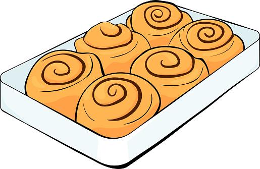 cinnabon buns  cinnamon rolls on a tray