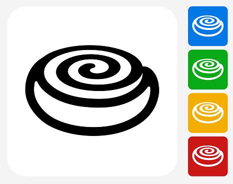 Cinnamon Bun Icon Flat Graphic Design