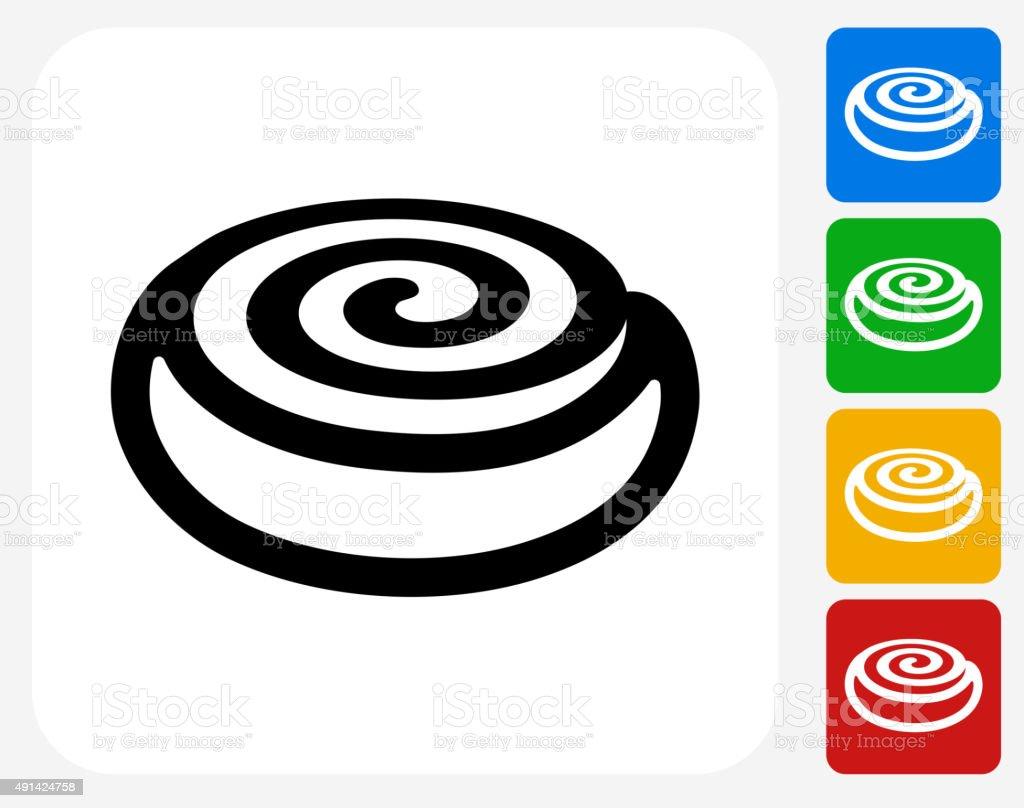 Cinnamon Bun Icon Flat Graphic Design vector art illustration