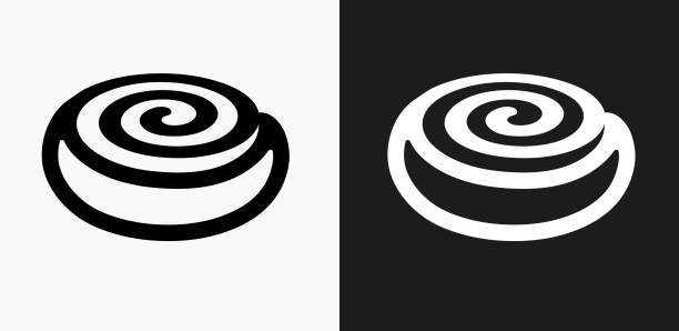 cinnamon bun icon on black and white vector backgrounds - cinnamon roll stock illustrations, clip art, cartoons, & icons
